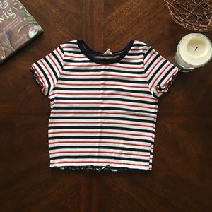 Red and Navy Striped Crop Top